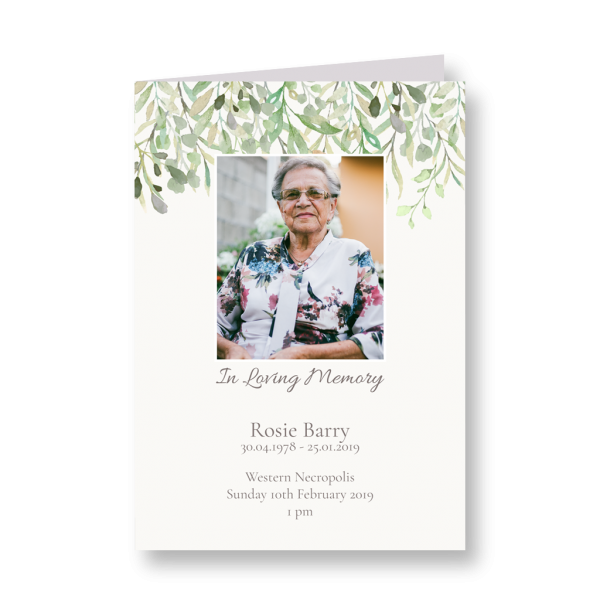 funeral stationery, order of service